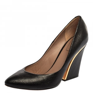 Chloe Black Textured Leather Beckie Pumps Size 36