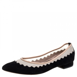 Chloe Black Suede And Mesh Scallop Tulle Ballet Flats Size 36.5