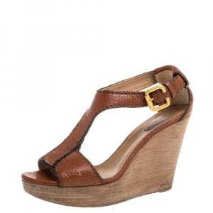 Chloé Copper Leather Wedge Platform Sandals Size 39.5