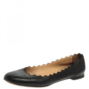 Chloé Black Leather Lauren Scalloped Ballet Flats Size 36