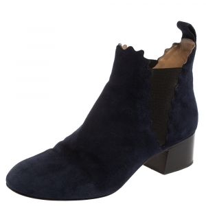 Chloe Navy Blue Suede Lauren Block Heels Ankle Boots Size 38