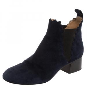 Chloe Navy Blue Suede Lauren Block Heels Ankle Boots Size 38 - used