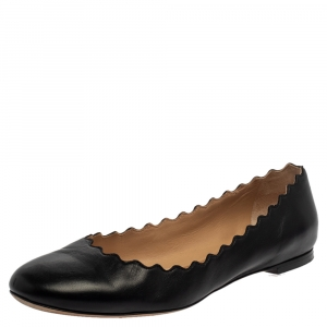 Chloe Black Leather Lauren Ballet Flats Size 40 - used