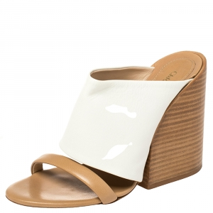 Chloe White Leather Double Strap Wedge Sandals Size 36 - used