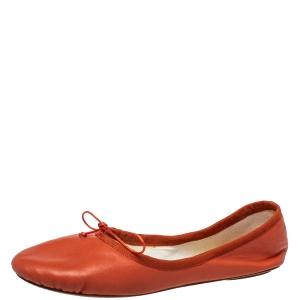 Chloé Orange Leather Bow Ballet Flats Size 40