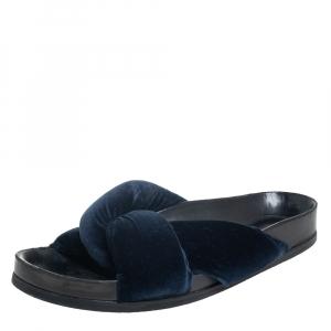 Chloe Blue Velvet Flat Slide Sandals Size 38 - used