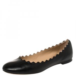 Chloé Black Leather Lauren Ballet Flat Size 39 - used