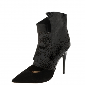 Chloe Black Laser Cut Leather and Suede Pointed Toe Ankle Boots Size 38.5