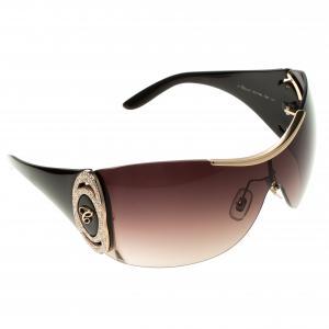 Chopard Dark Brown and Gold SCH 748S Shield Sunglasses