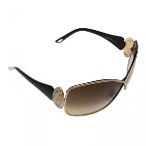 Chopard Brown/Gold SCH802S Crystal Embellished Oversized Sunglasses