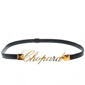 Chopard Black Leather Logo Buckle Belt 90cm