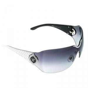 Chopard Black/Black Gradient SCH 883S Crystal Embellished Shield Sunglasses