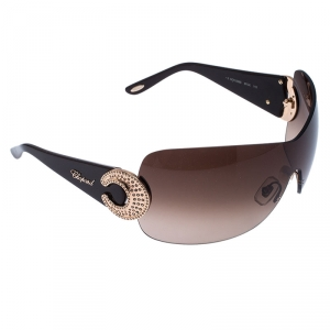 Chopard Brown SCH 939 S Crystal Embellished Gradient Shield Sunglasses