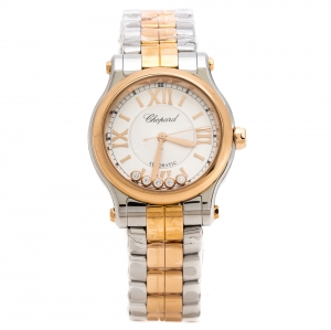 Chopard Silver 18K Rose Gold and Stainless Steel Happy Sport 278573-6002 Women's Wristwatch 30 mm