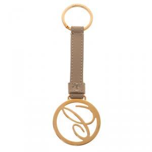 Chopard Beige/Gold Leather Logo Charm Keychain
