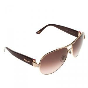 Chopard Burgundy SCH866S Embellished Aviator Sunglasses
