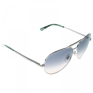 Chopard Silver/Green Gradient SCH934S Embellished Aviator Sunglasses