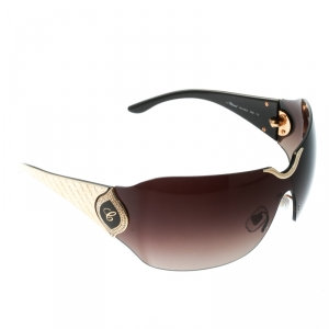 Chopard Gold / Brown Gradient Embossed SCH 883S Crystal Embellished Shield Sunglasses