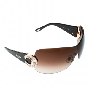 Chopard Brown/Brown Gradient SCH 939S Crystal Embellished Shield Sunglasses