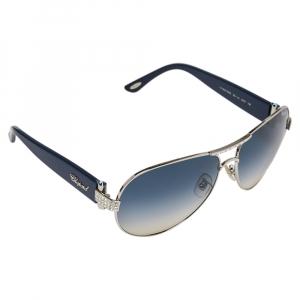 نظارة شمسية شوبارد أس سي أتش 866أس متدرجة زرقاء/ لون فضي مزخرفة كريستال