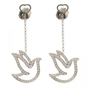 Chopard Happy Diamond Dove 18k White Gold Dangle Earrings