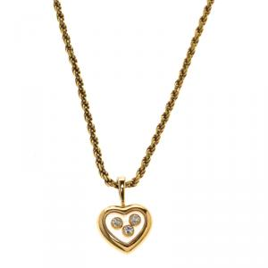 Chopard Happy Diamond Heart 18k Gold Pendant Rope Chain Necklace