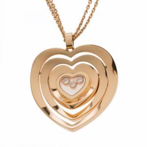 Chopard Happy Spirit Diamond Heart 18k Rose Gold Pendant Double Chain Necklace