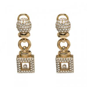 Chopard Vintage Happy Diamond 18k Yellow Gold Drop Earrings