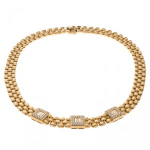 Chopard Vintage Happy Diamond 18k Yellow Gold Choker Necklace