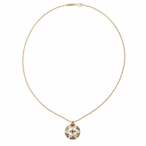 Chopard Vintage Multi Gem Pendant 18k Yellow Gold Rope Chain Necklace