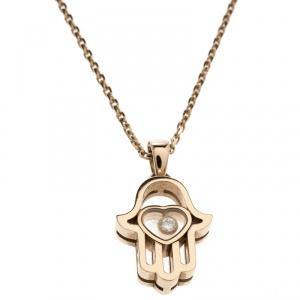 Chopard Happy Diamond Hamsa Hand 18k Rose Gold Pendant Necklace