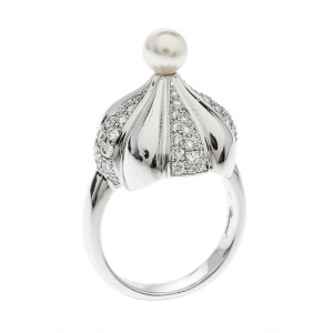 Chopard Pushkin Diamond Pearl Cocktail Ring Size 54
