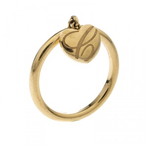 Chopard Chopardissimo 18k Yellow Gold Heart Charm Ring Size 56