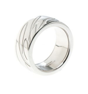 Chopard Chopardissimo The Revolving Signature 18k White Gold Band Ring Size 59
