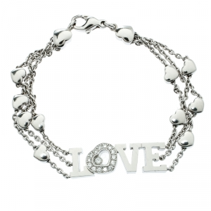 Chopard Happy Diamond Heart Love 18k White Gold Charm Link Bracelet