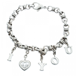 Chopard Happy Diamond I Love You Heart Charm 18k White Gold Link Bracelet