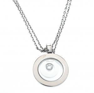 Chopard Happy Spirit Diamond 18K White Gold Pendant Double Chain Necklace