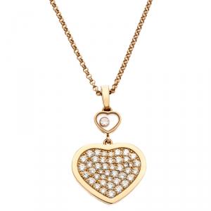 Chopard Happy Hearts Diamond 18k Rose Gold Pendant Necklace