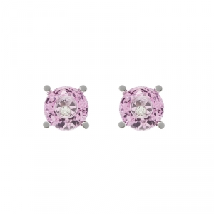 Chopard So Happy Pink Stone Diamond 18k White Gold Stud Earrings