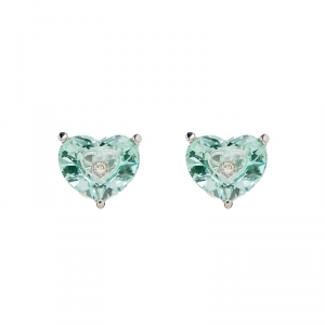 Chopard So Happy Green Stone Diamond 18k White Gold Stud Earrings