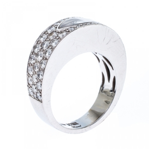 Chopard Happy Diamond Lozenge Shaped 18K White Gold Cocktail Band Ring Size 55