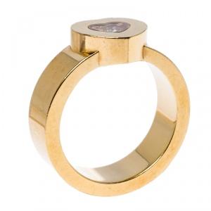 Chopard Happy Diamond Heart 18k Yellow Gold Ring Size 53
