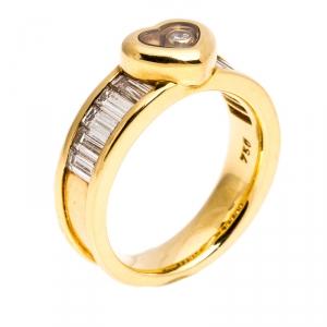 Chopard Happy Diamond Heart 18K Yellow Gold Ring Size 54