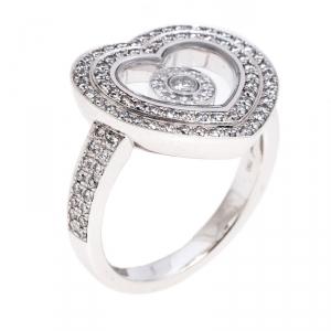 Chopard Diamond Paved 18K White Gold Heart Ring Size 52
