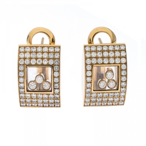 Chopard Happy Diamonds Pave 18k Yellow Gold Stud Earrings