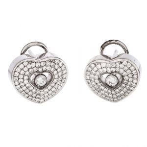 Chopard Happy Diamond 18k White Gold Heart Clip-On Earrings
