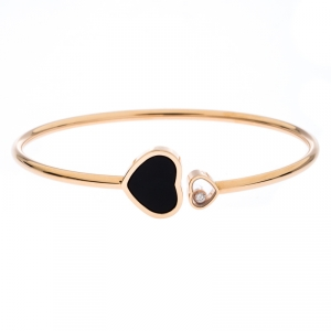 Chopard Happy Hearts Diamond Onyx 18K Rose Gold Open Bracelet
