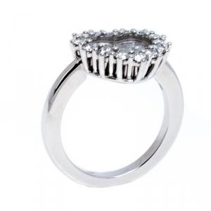 Chopard Happy Heart Diamond 18K White Gold Ring Size 52.5