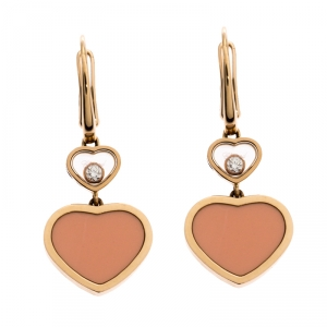 Chopard Happy Hearts 18K Rose Gold Diamond and Rose Stone Drop Earrings