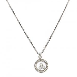 Chopard Happy Diamonds Circle Pendant 18k White Gold Necklace